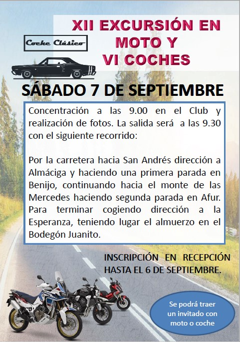 XII EXCURSION EN MOTO Y VI DE COCHES